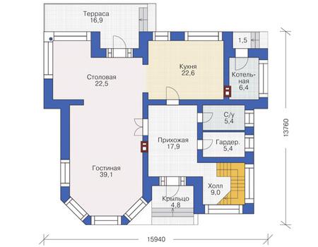 Проект кирпичного дома 37-29 план