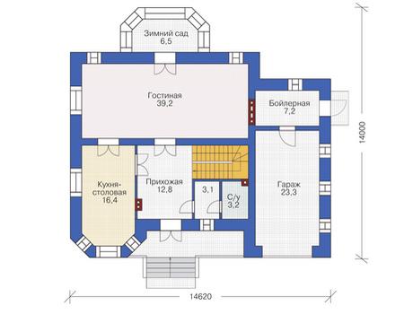Проект кирпичного дома 37-66 план