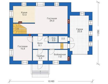 Проект кирпичного дома 38-12 план