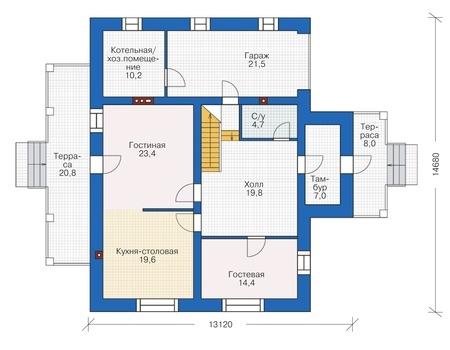 Проект кирпичного дома 38-38 план