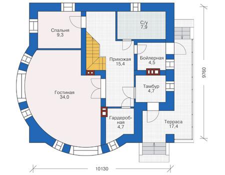Проект кирпичного дома 38-53 план