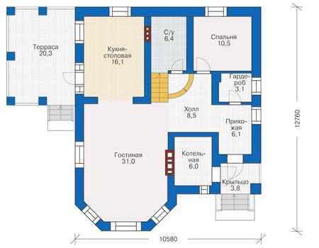 Проект кирпичного дома 38-65 план