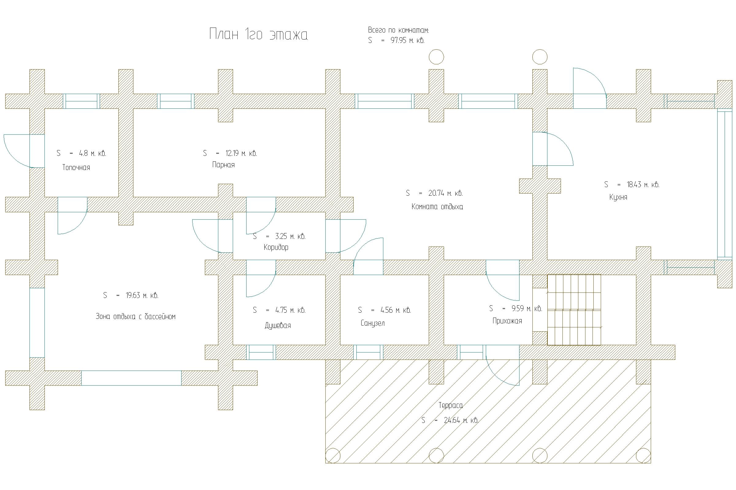 Баня Романа рубленое бревно 400мм план