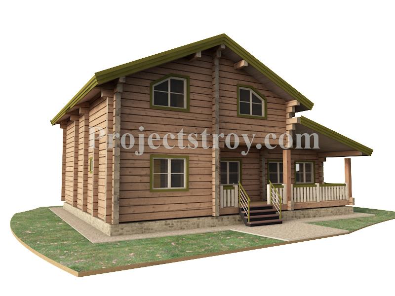Деревянный дом в норвежском стиле из лафета фасад