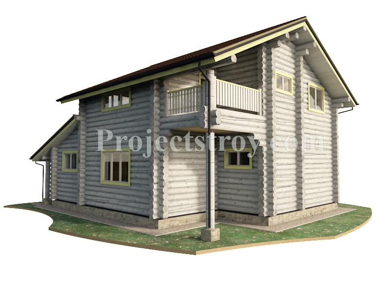 Деревянный дом из оцилиндрованного бревна 12 х 9 м фасад