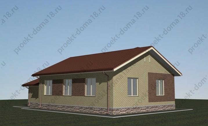 Проект одноэтажного дома с гаражом фасад