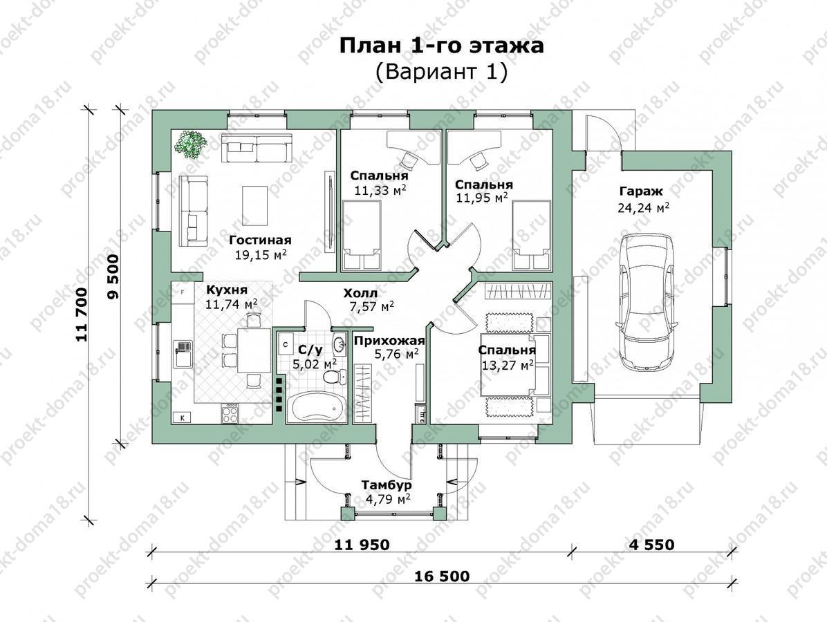 Проект одноэтажного дома с гаражом план