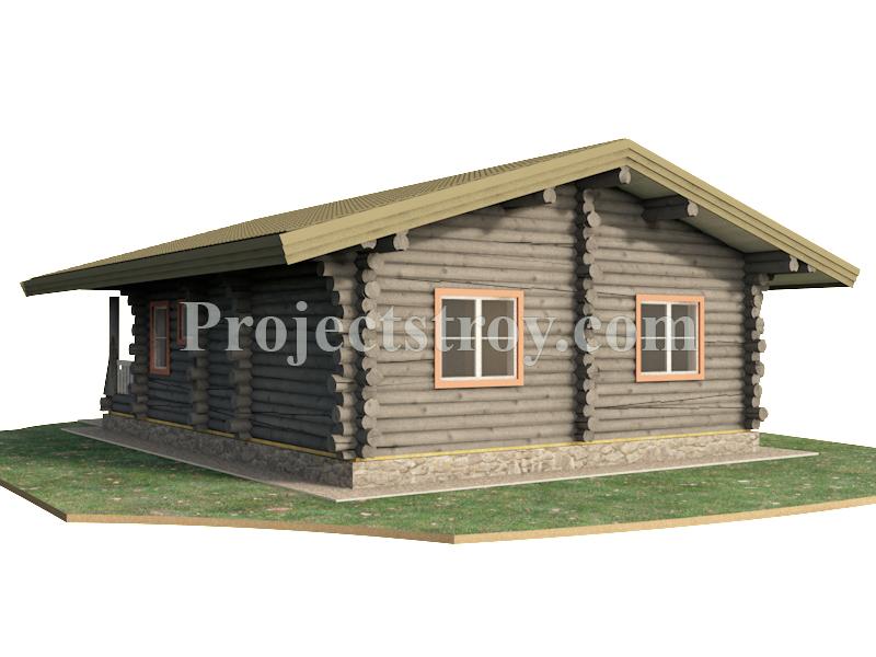 Одноэтажный дом из бревна 11.1 х 8.1 - 76 кв. м фасад
