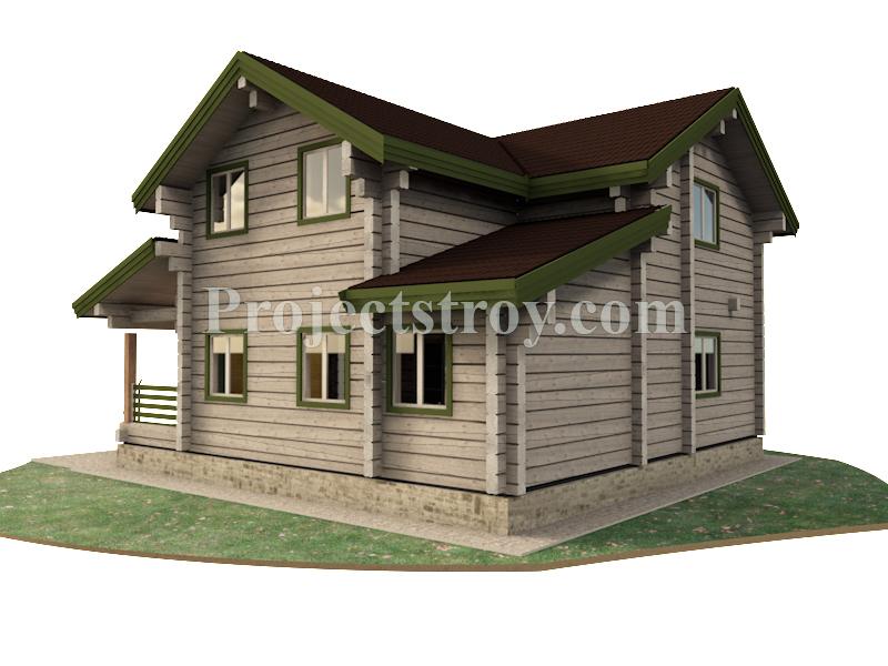 Загородный дом из лафета 10.4 х 10.3 м фасад
