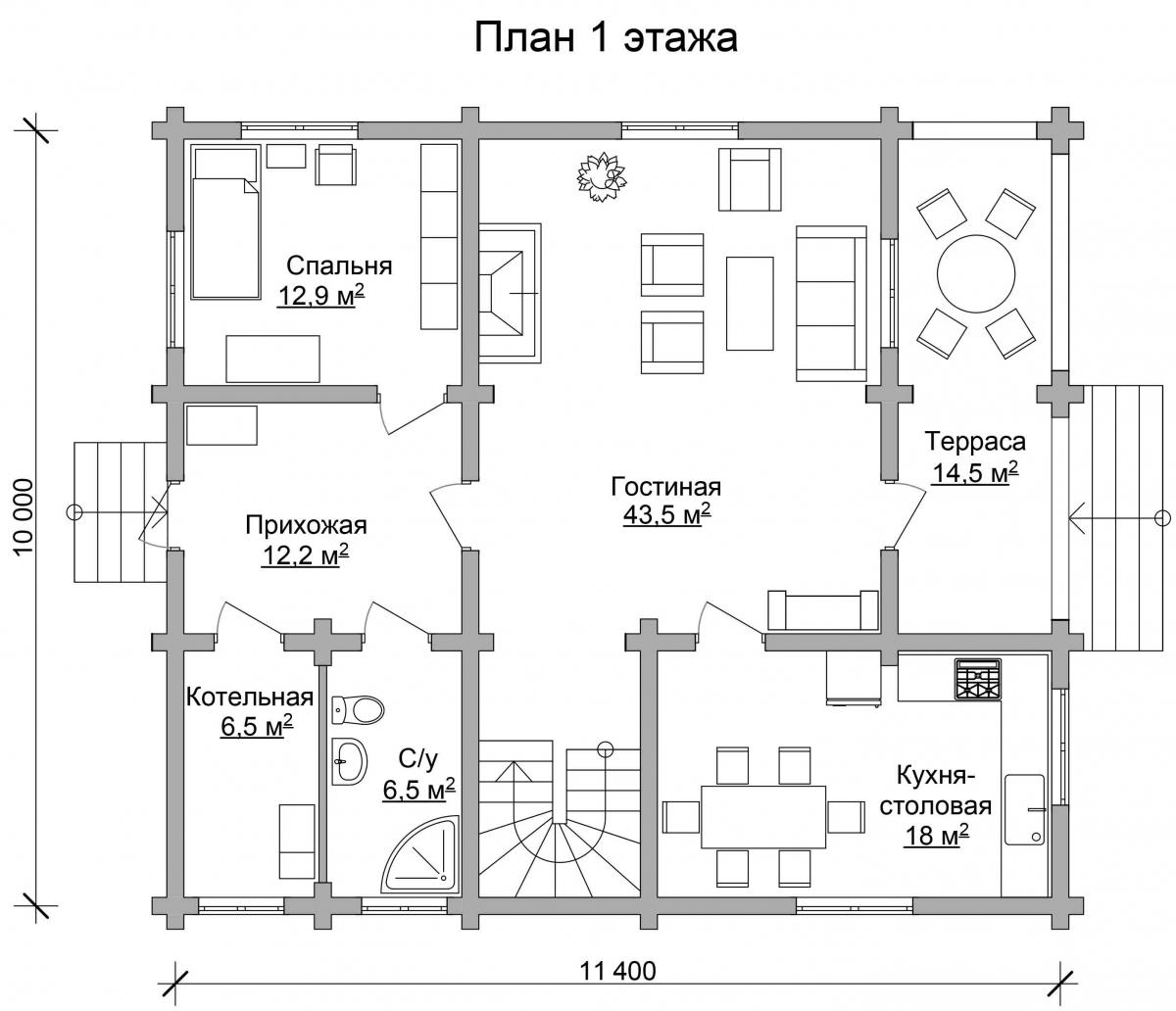 Проект бревенчатого дома AM-2006 план