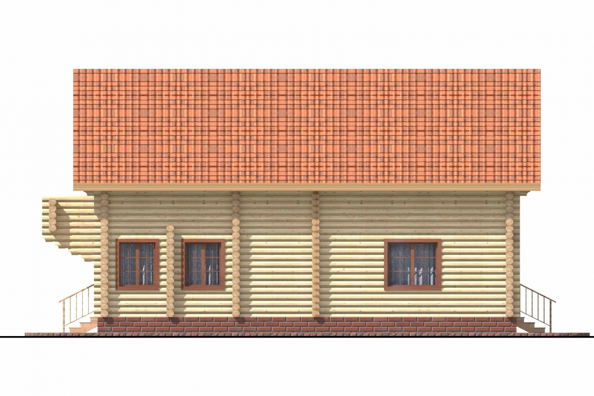 Проект бревенчатого дома AM-2006 фасад