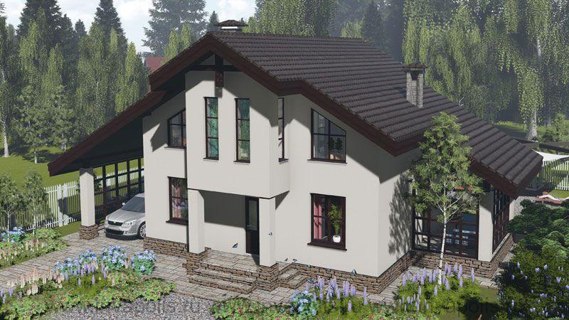 Проект небольшого шале с 5 спальнями СВЕТЛЫЙ фасад