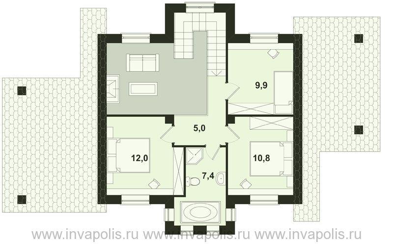 Проект небольшого шале с 5 спальнями СВЕТЛЫЙ план