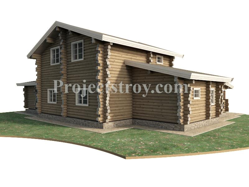 Проект дома из рубленого бревна 20 х 14 м фасад