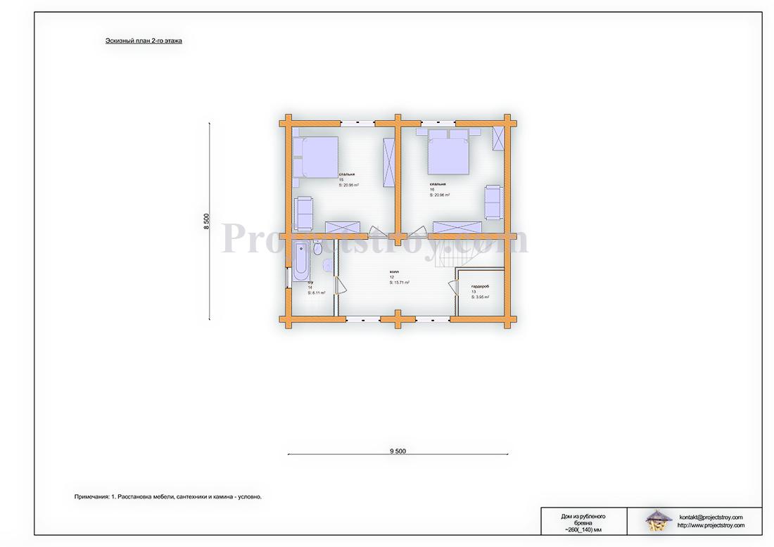 Проект дома из рубленого бревна 20 х 14 м план