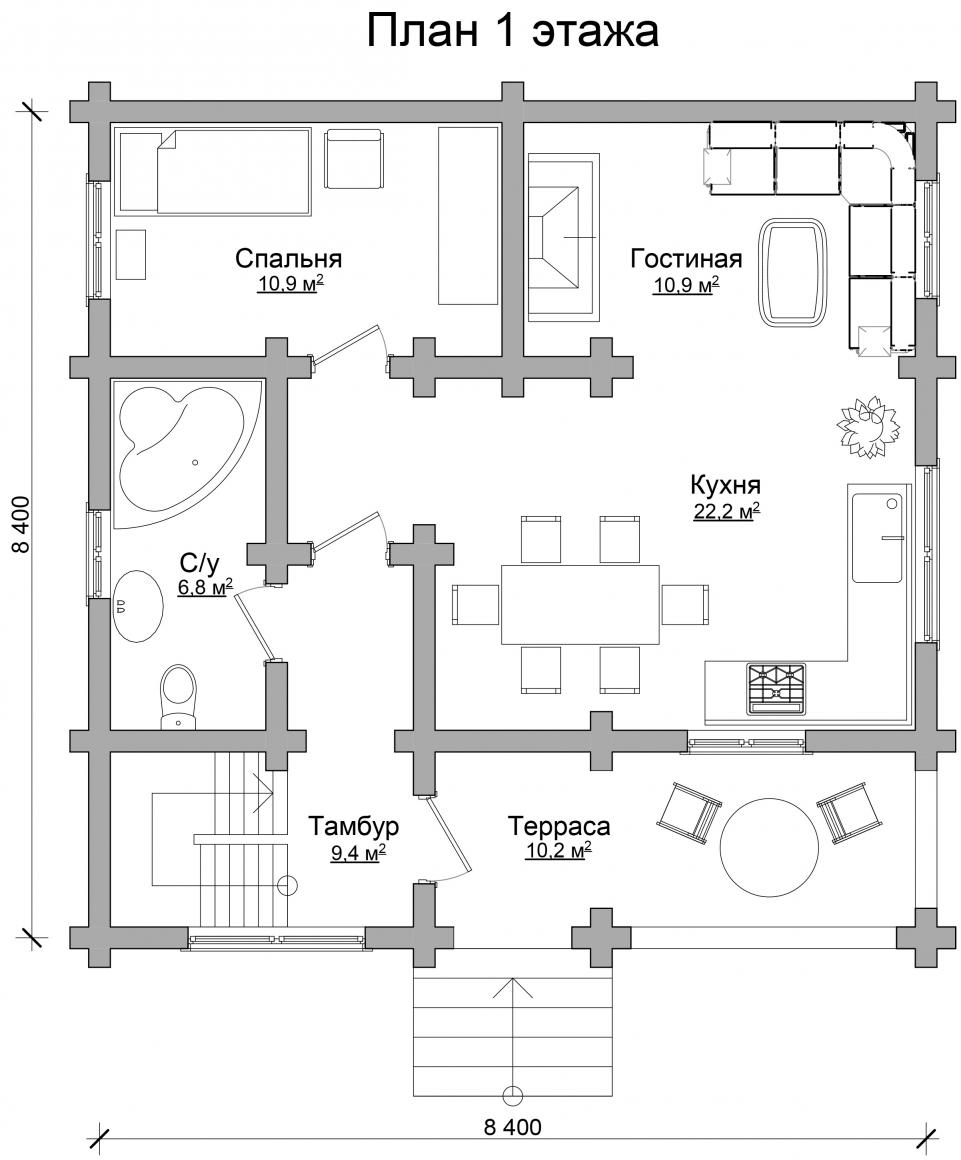 Проект бревенчатого дома AM-2001 план
