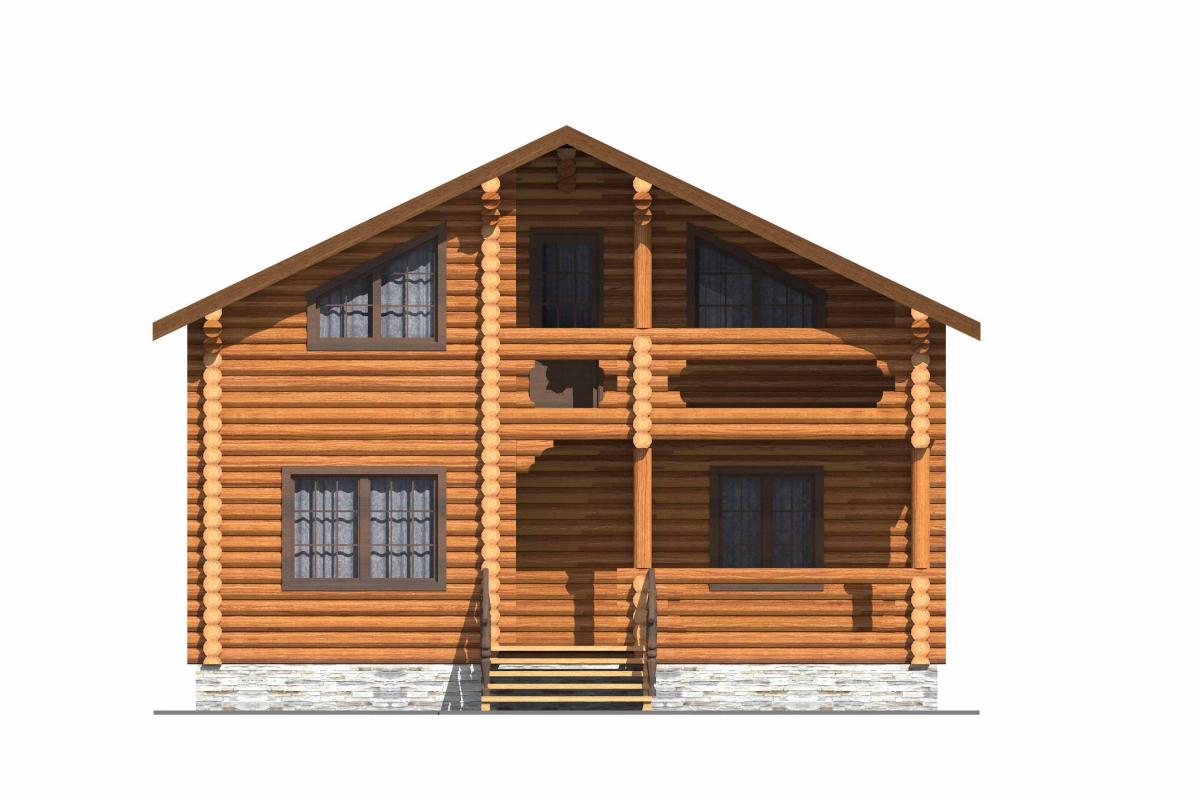 Проект бревенчатого дома AM-2001 фасад