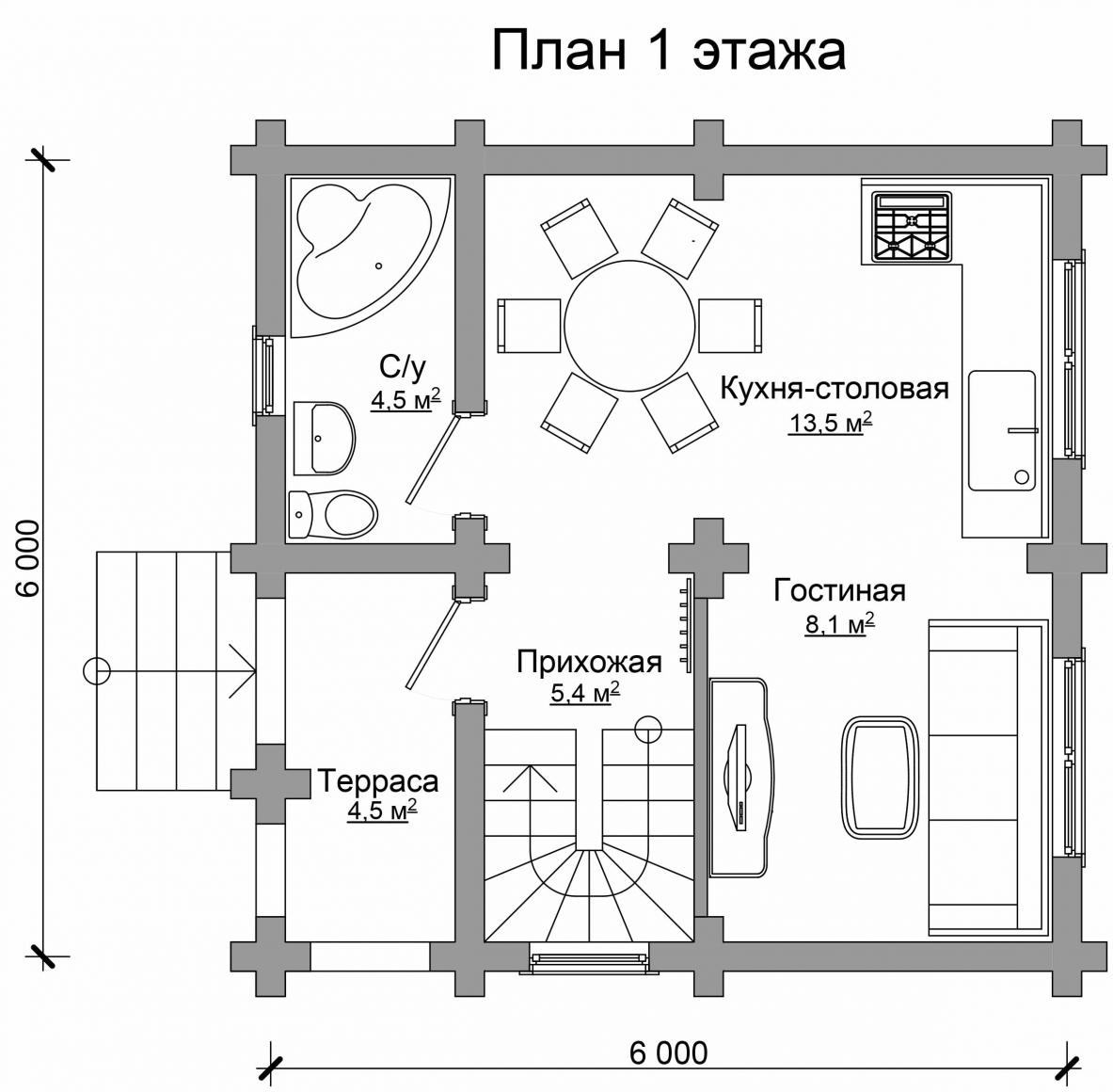 Проект бревенчатого дома AM-2002 план