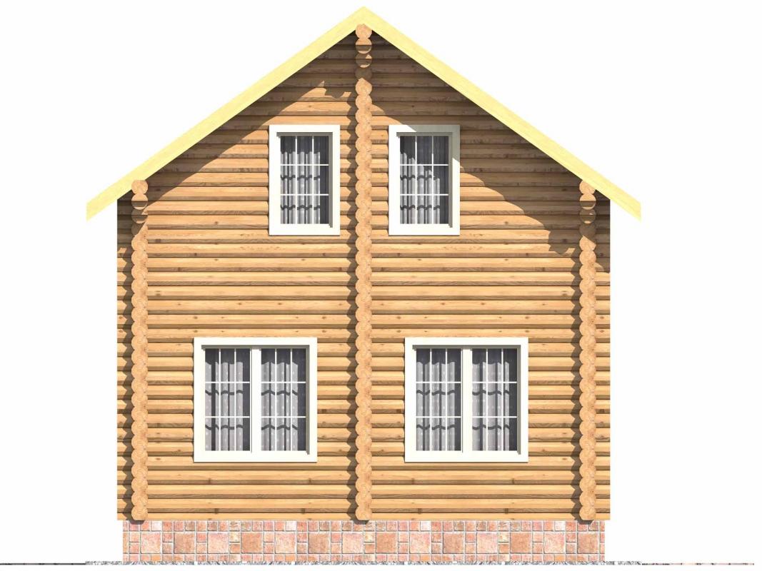 Проект бревенчатого дома AM-2002 фасад