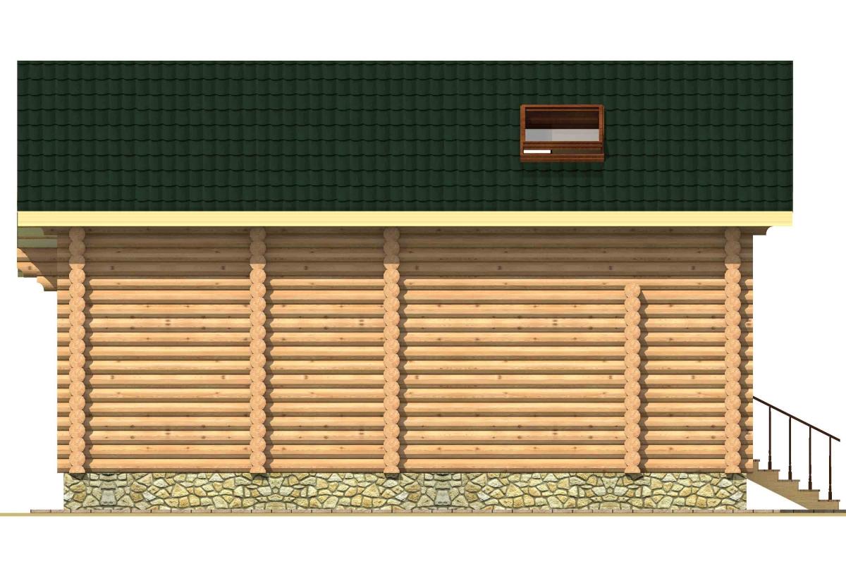 Проект бревенчатого дома AM-2003 фасад
