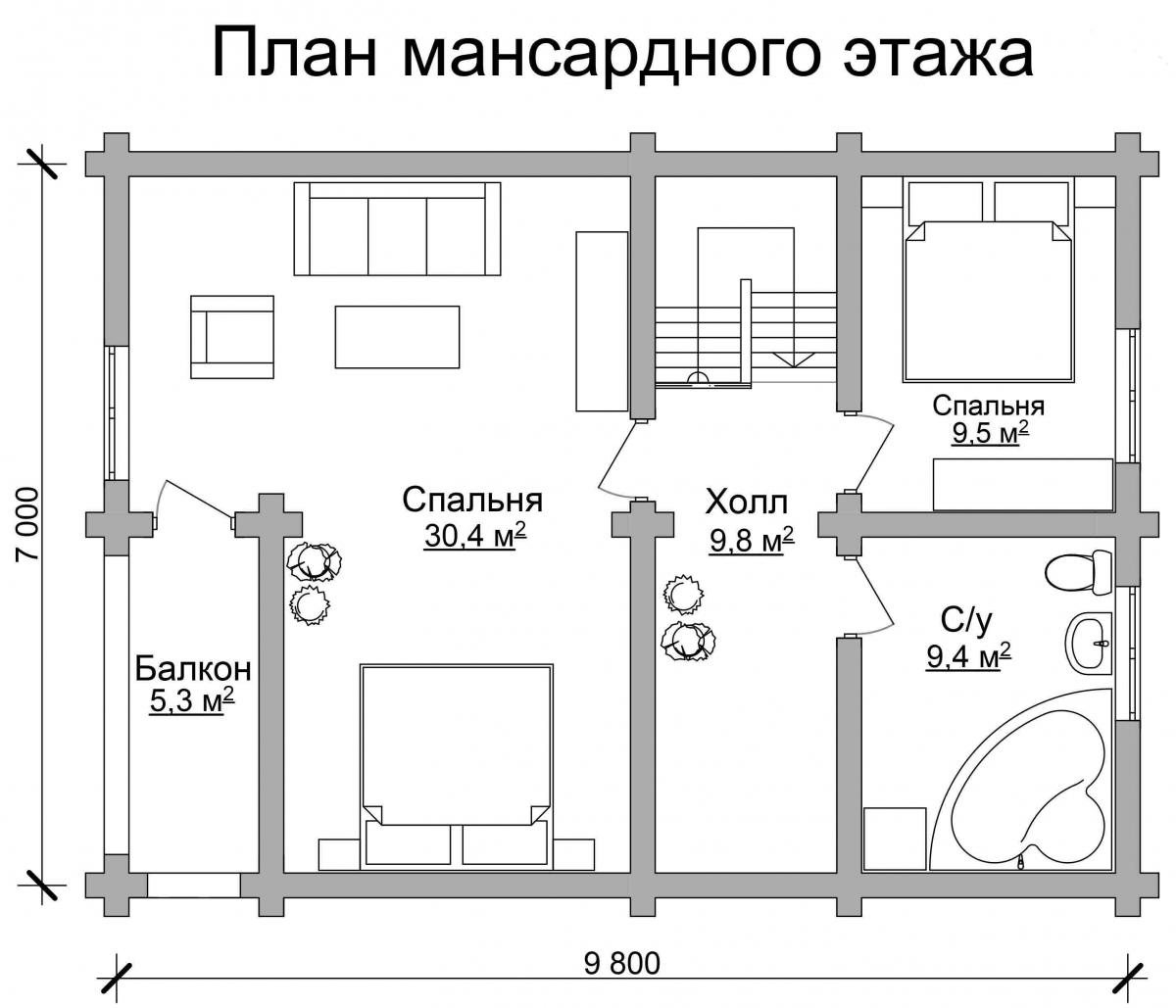 Проект бревенчатого дома AM-2003 план