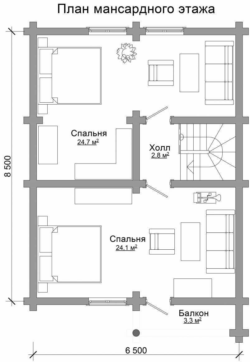 Проект бревенчатого дома AM-2004 план