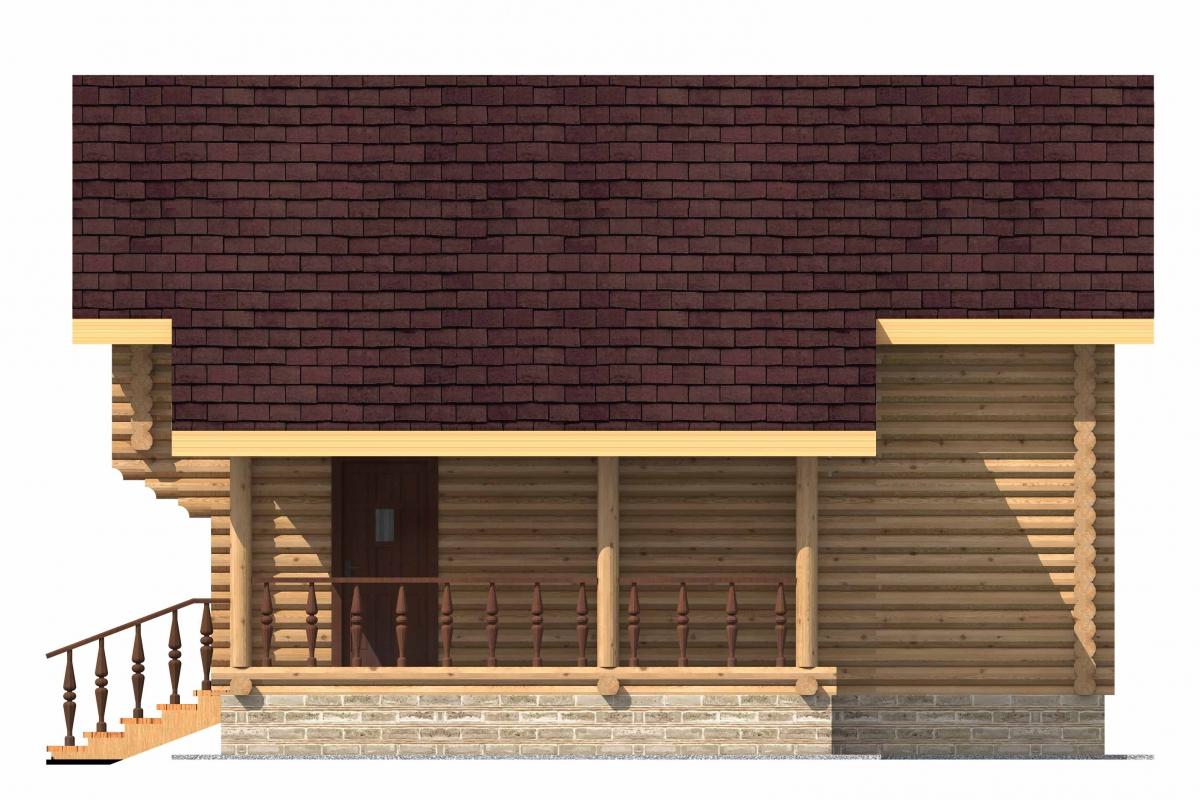 Проект бревенчатого дома AM-2004 фасад