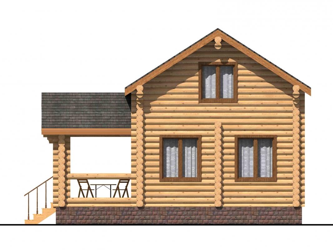 Проект бревенчатого дома AM-2005 фасад