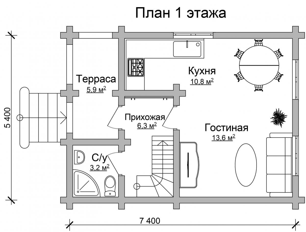 Проект бревенчатого дома AM-2007 план