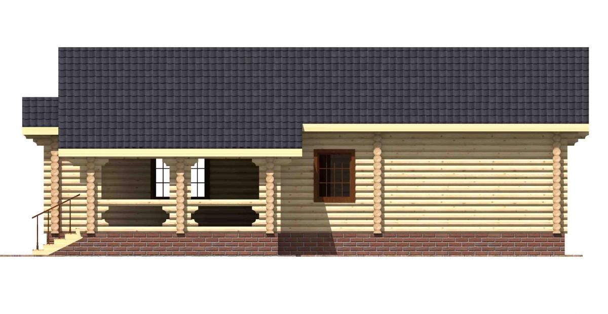 Проект бревенчатого дома AM-2008 фасад