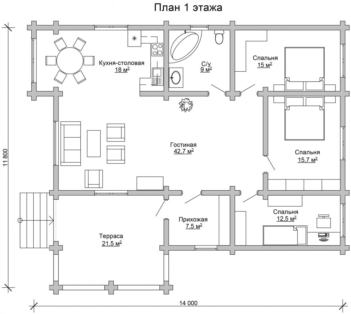 Проект бревенчатого дома AM-2008 план