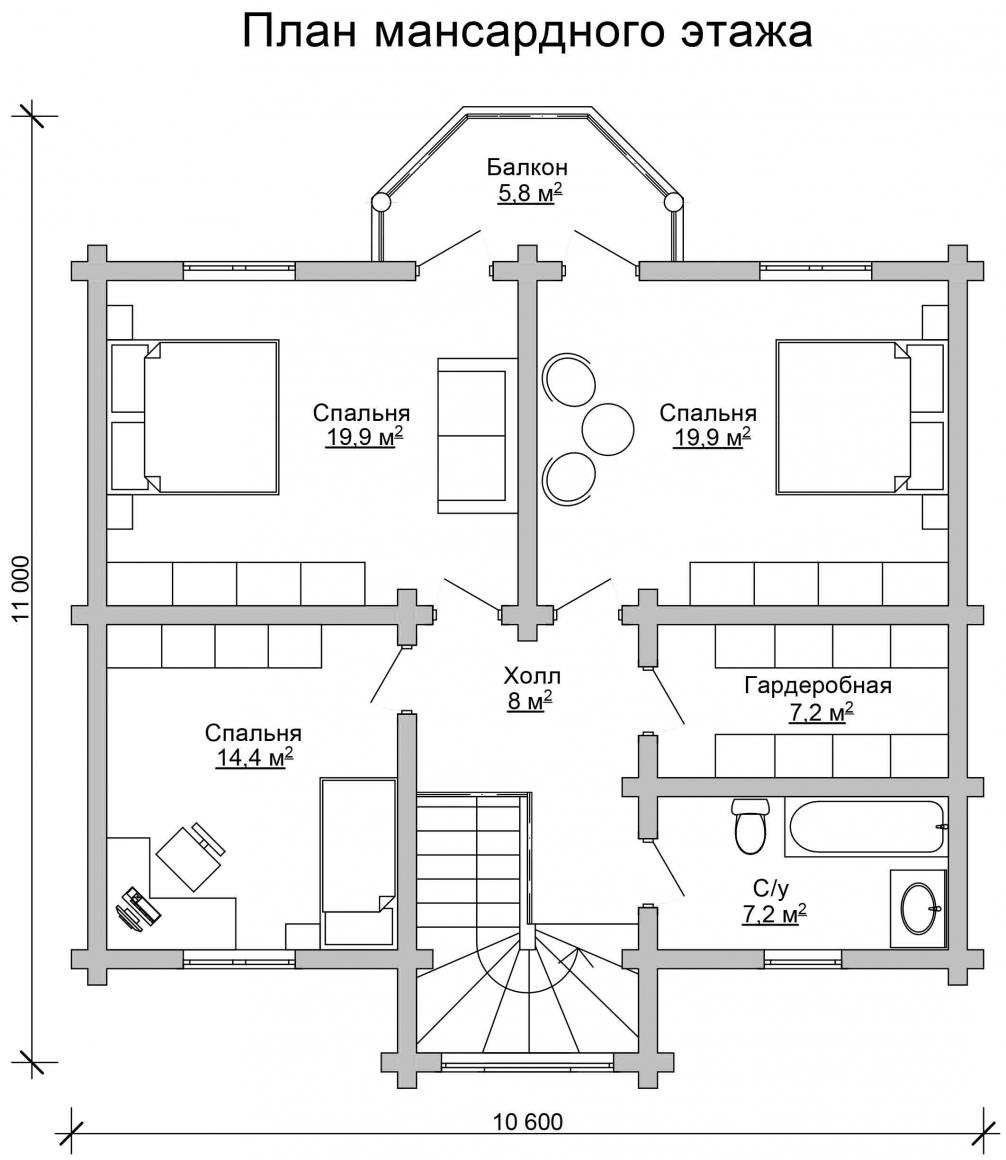 Проект бревенчатого дома AM-2011 план