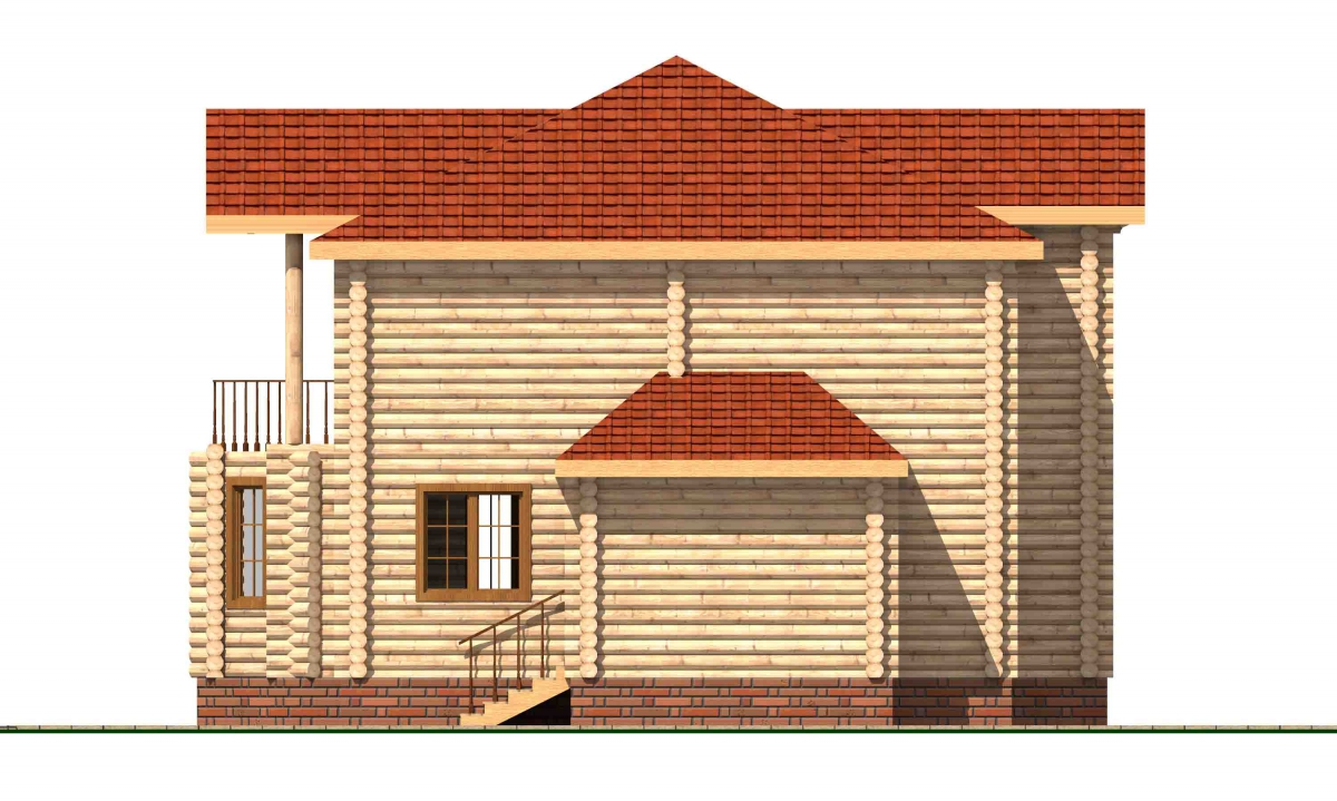 Проект бревенчатого дома AM-2011 фасад