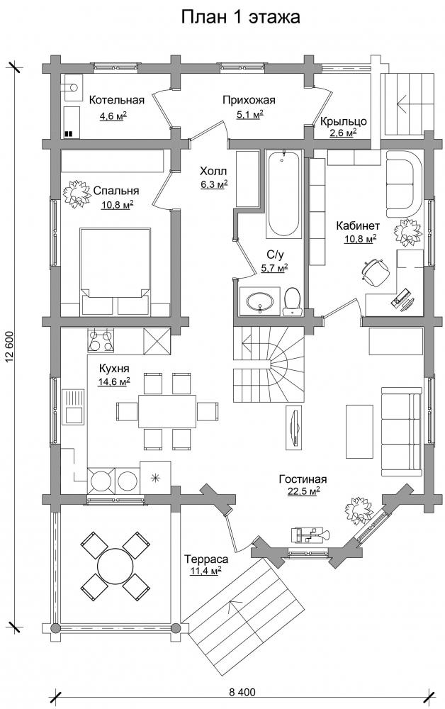 Проект бревенчатого дома AM-2014 план