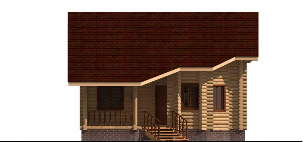 Проект бревенчатого дома AM-2014 фасад