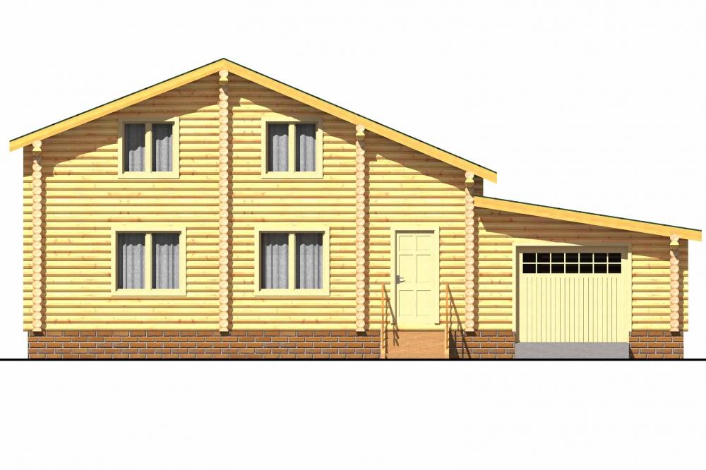 Проект бревенчатого дома AM-2015 фасад