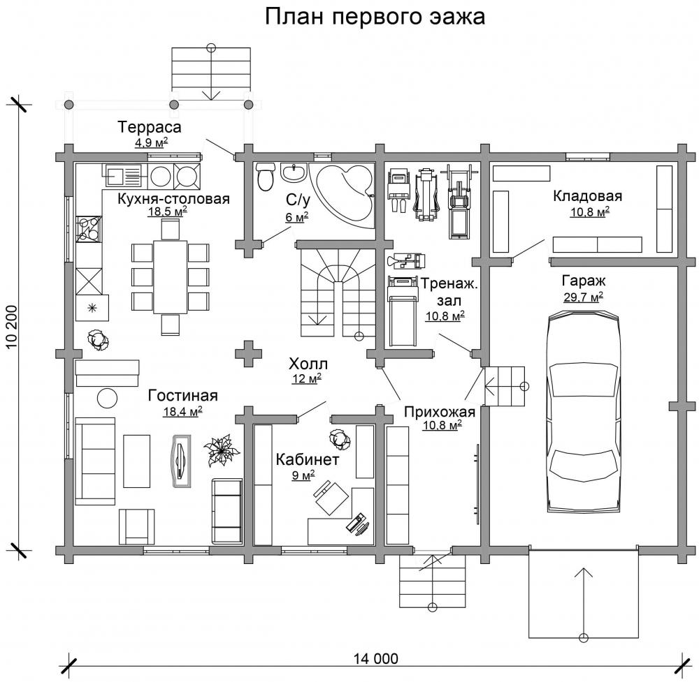Проект бревенчатого дома AM-2015 план