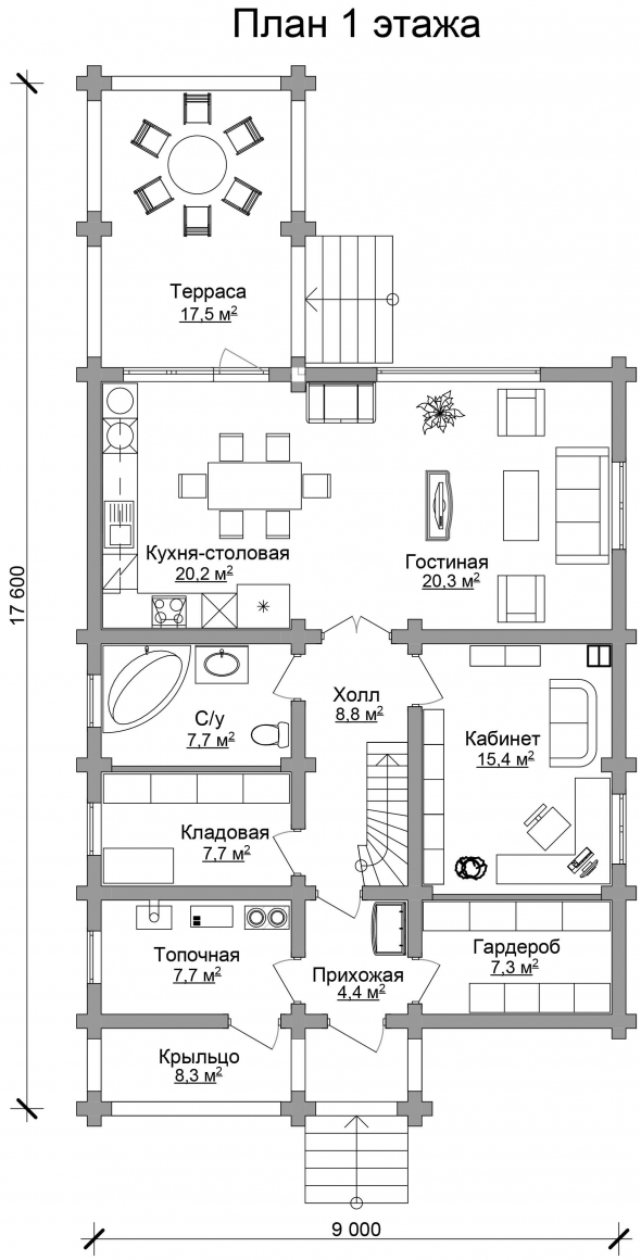 Проект бревенчатого дома AM-2016 план