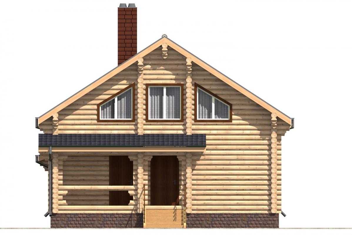 Проект бревенчатого дома AM-2016 фасад