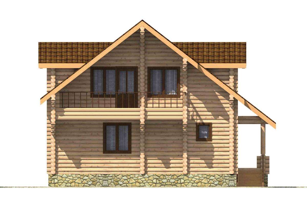 Проект бревенчатого дома AM-2018 фасад