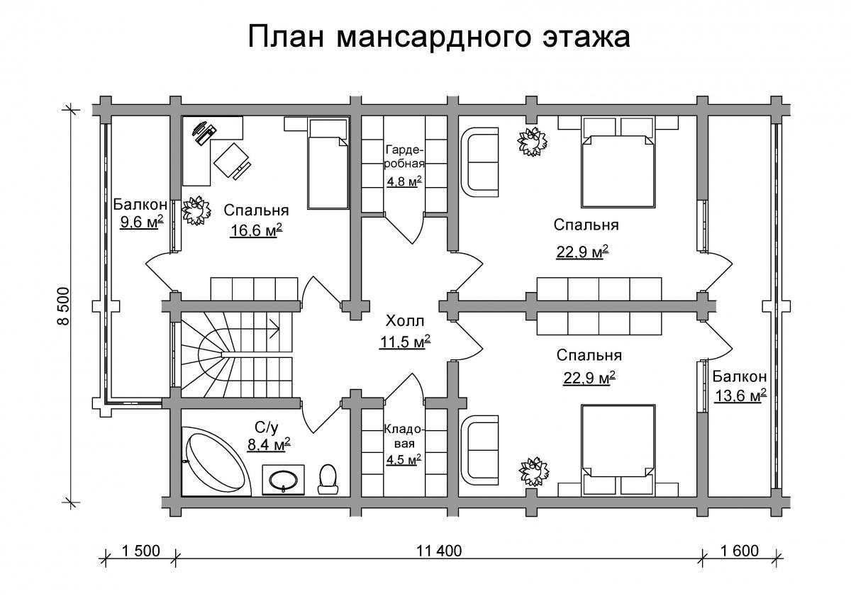 Проект бревенчатого дома AM-2018 план
