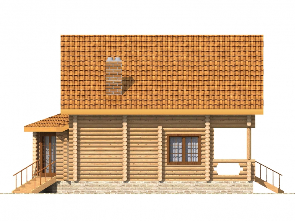 Проект бревенчатого дома AM-2020 фасад
