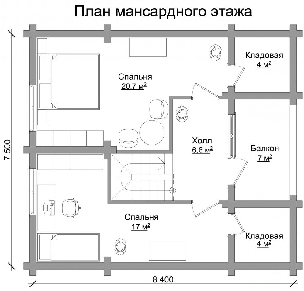 Проект бревенчатого дома AM-2020 план