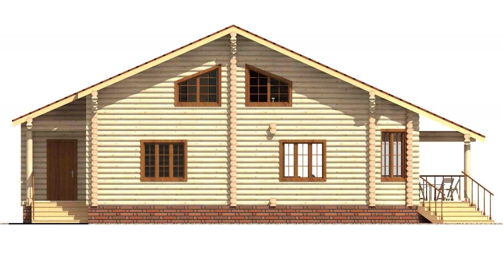 Проект бревенчатого дома AM-2021 фасад