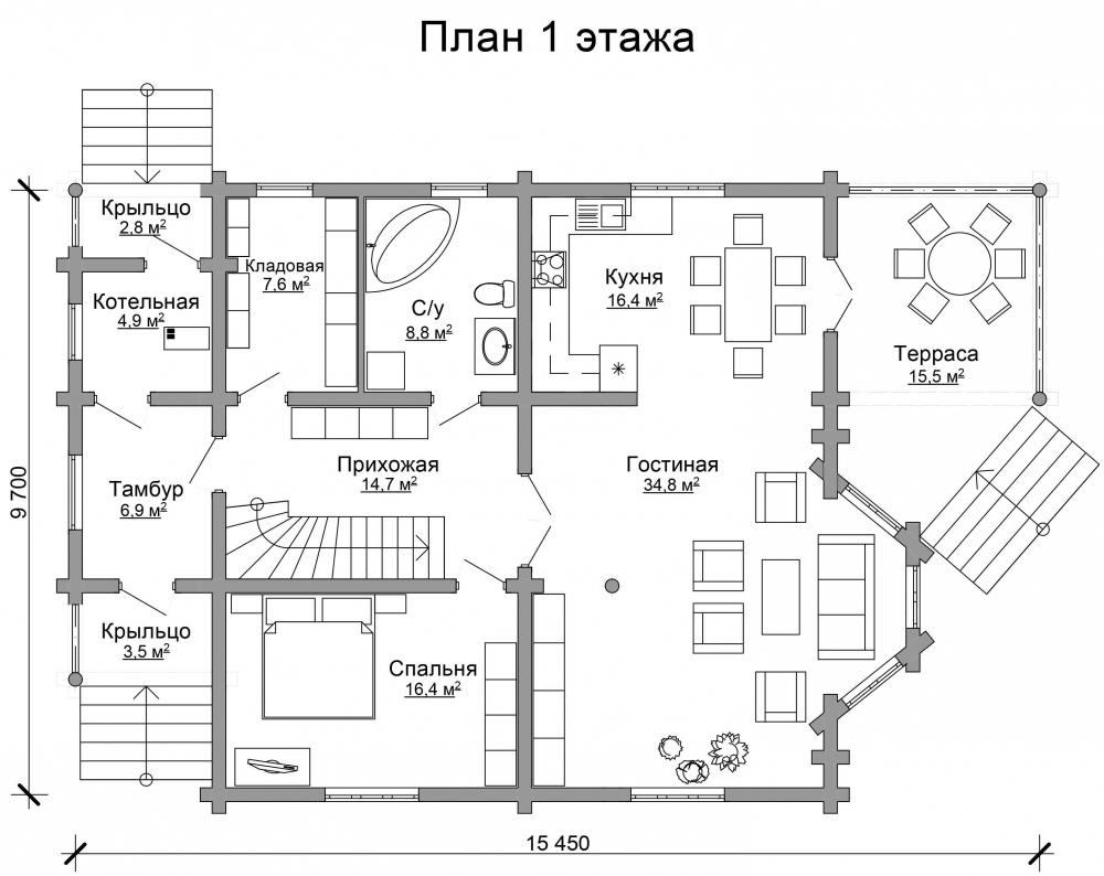 Проект бревенчатого дома AM-2021 план