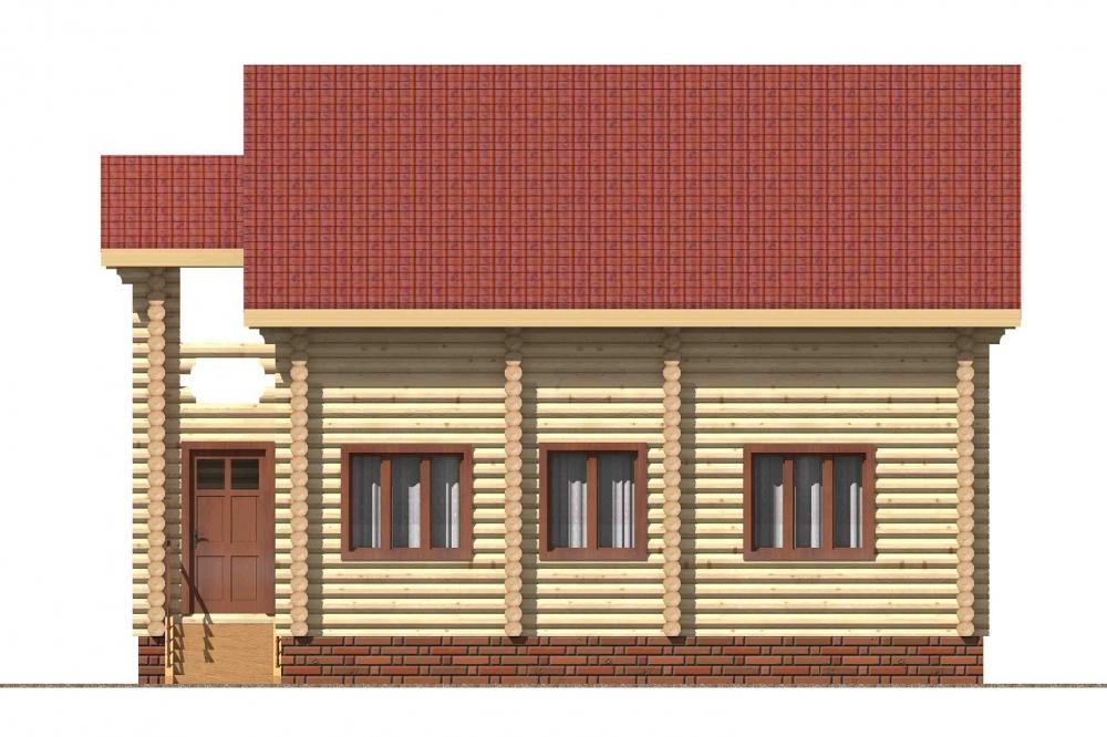 Проект бревенчатого дома AM-2022 фасад
