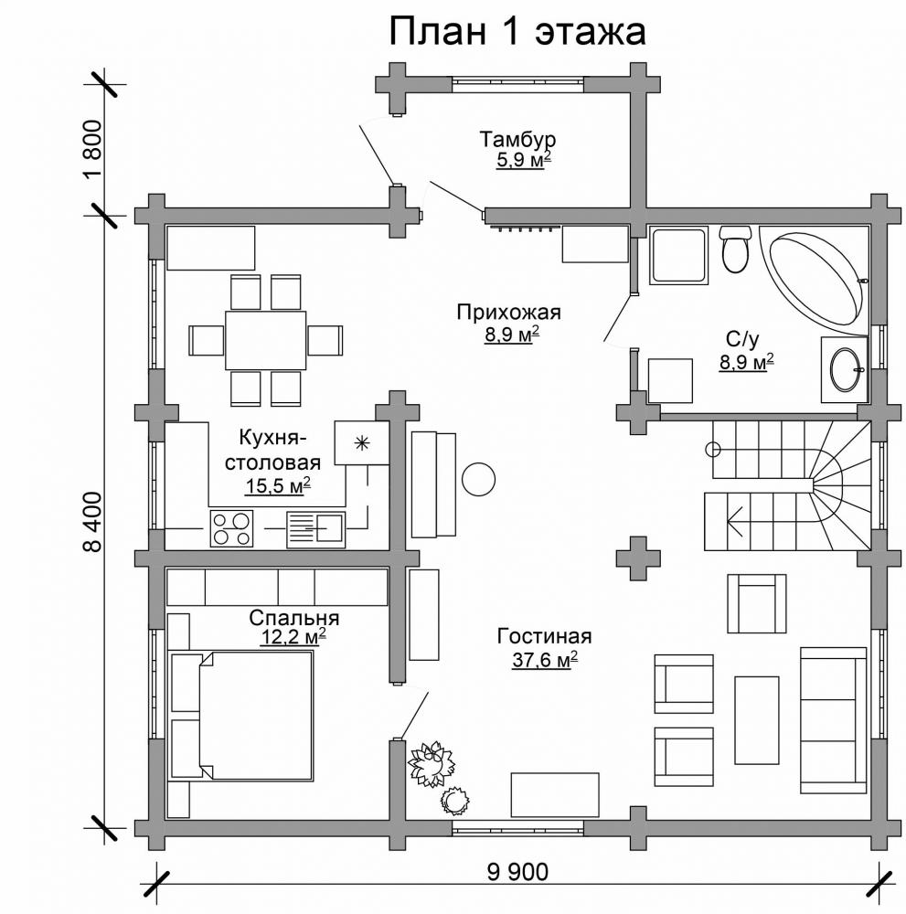 Проект бревенчатого дома AM-2022 план