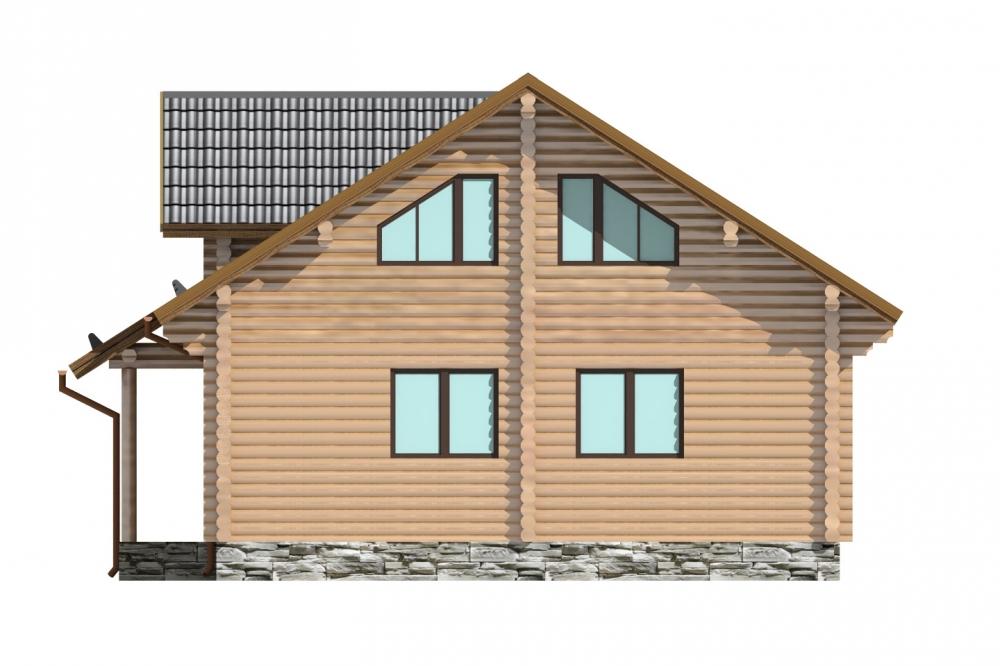 Проект бревенчатого дома AM-2023 фасад