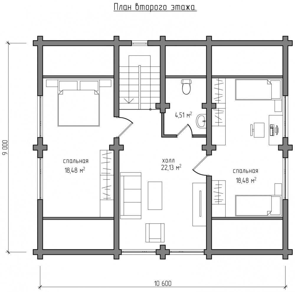 Проект бревенчатого дома AM-2023 план
