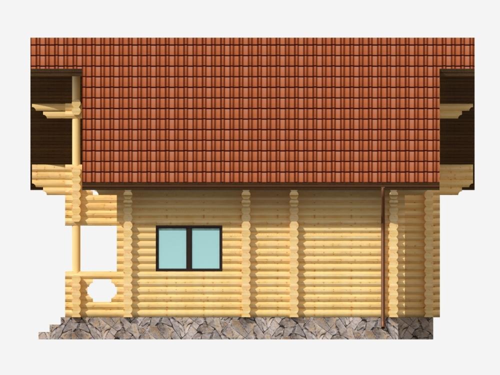 Проект бревенчатого дома AM-2024 фасад